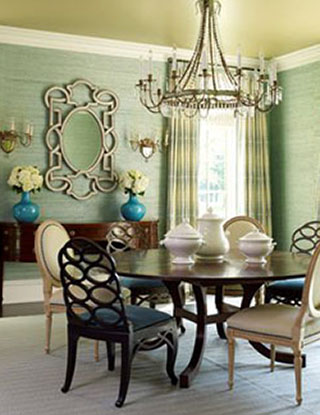 A dining room by Suzanne Kasler. Love that grass cloth on the walls. Chic and makes the room a little less formal.