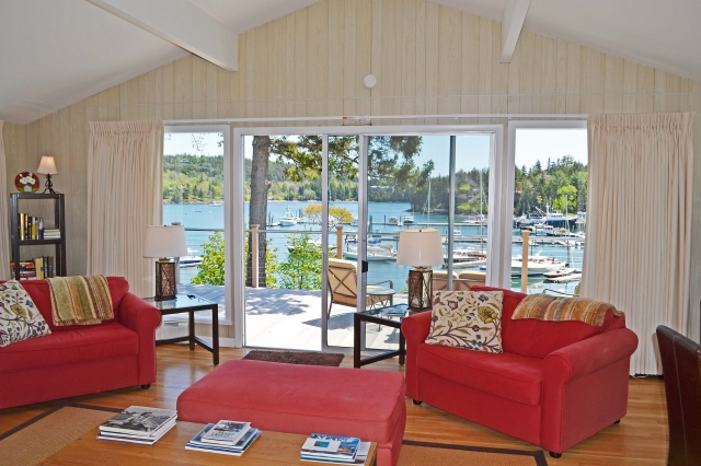 Looking out from the open living room.  Tuns of light pours in - just like you are on a boat!