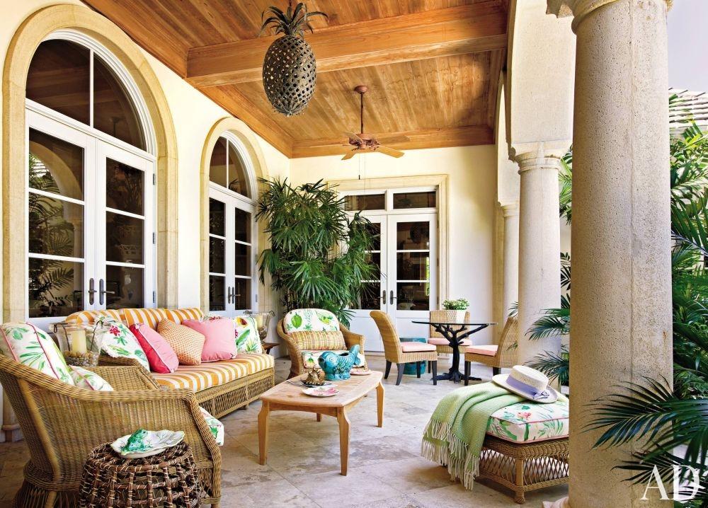 Traditional Outdoor Space Mario Buatta Palm Beach Florida