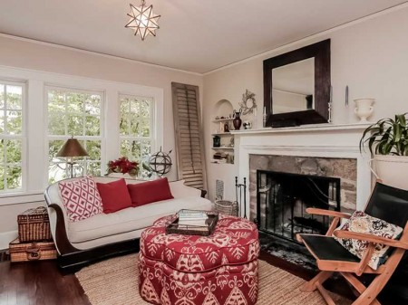 A cozy living room with fireplace offers a place to curl up and catch up for Book Club!