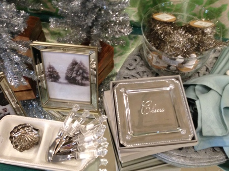 There is a large assortment of small trays and serving pieces that make a holiday party really pretty.