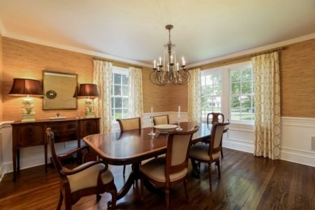 The dining room can hold a table for twelve easily.